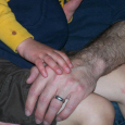 Dan and Jackson's hands with Jackson's park boo-boo