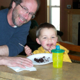 Uncle Dan and Jackson and some of Nancy's chocolate cake